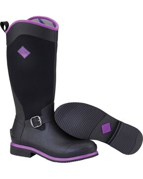 Muck Women's Black and Purple Reign Tall Equestrian Boots, Purple, hi-res