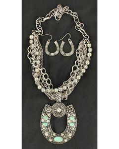 Blazin Roxx Multi Strand Horseshoe Necklace & Earrings Set, , hi-res
