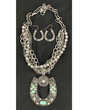 Blazin Roxx Multi Strand Horseshoe Necklace & Earrings Set, Silver, hi-res