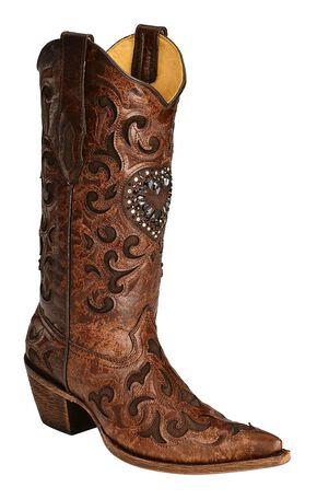 Corral Burnished Goatskin Crystal Heart Cowgirl Boots - Pointed Toe, Cognac, hi-res