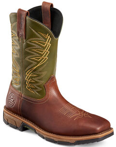 Red Wing Irish Setter Marshall Green and Brown Work Boots - Soft Square Toe  , , hi-res