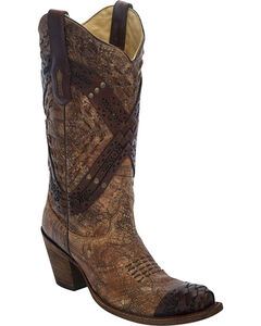 Corral Cognac Braided Straps & Studs Cowgirl Boots - Snip Toe , , hi-res