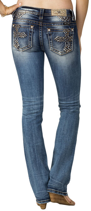 Miss Me Women's Indigo Cross Embroidered Jeans - Slim Boot Cut, Indigo, hi-res