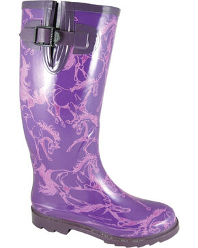 Smoky Mountain Women's Dancing Horses Waterproof Boots, Purple, hi-res