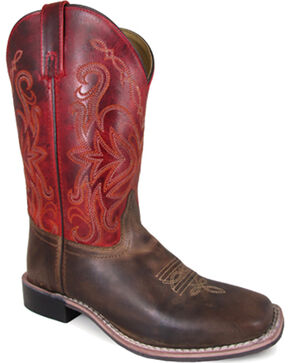 Smoky Mountain Women's Red Delta Western Boots - Square Toe , Brown, hi-res