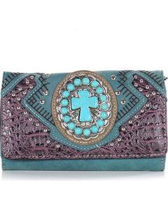 Savana Women's Turquoise Concho Cross Wallet, , hi-res
