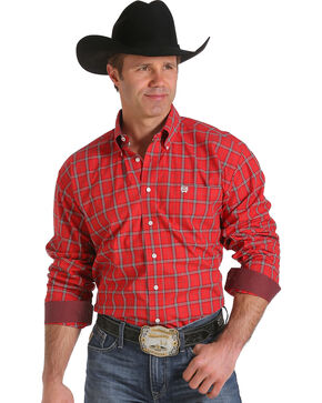 Cinch Men's Red and Black Plaid Contrast Western Shirt , Red, hi-res