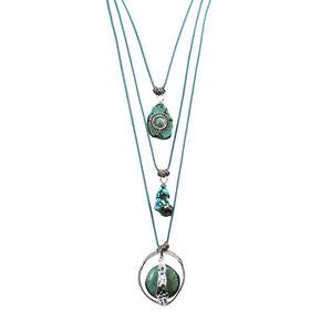 Treska 3 Strand Pendant Necklace on Turquoise Cord, Turquoise, hi-res