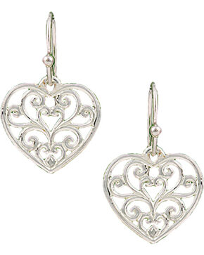 Montana Silversmiths Petite Heart's Flame Lattice Earrings, Silver, hi-res