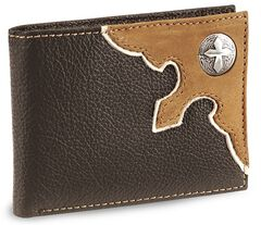 Nocona Cross Concho Bi-Fold Leather Wallet, , hi-res