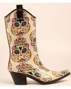 Blazin Roxx Sugar Skull Cowgirl Rain Boots - Snip Toe, , hi-res