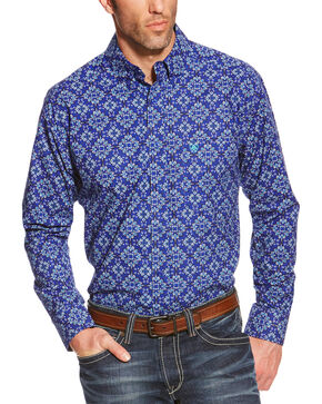 Ariat Pro Series Dante Classic Fit Poplin Western Shirt , Blue, hi-res