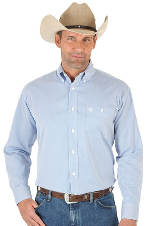 Wrangler George Strait Blue Twill Stripe Western Shirt - Big & Tall , Blue, hi-res