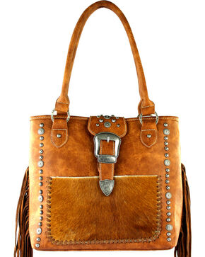Montana West Trinity Ranch Tooled Hair-On Leather Concealed Handgun Collection Handbag, Brown, hi-res