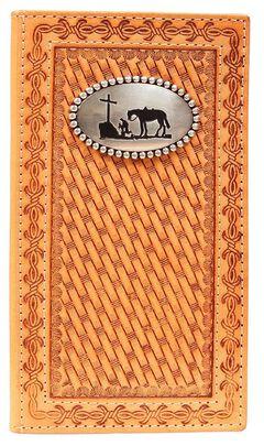 Nocona Basketweave Cowboy Prayer Concho Rodeo Wallet, , hi-res