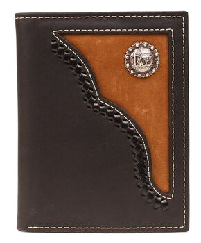 Nocona Brown Leather Inlay w/ Cowboy Prayer Concho Bi-fold Wallet, Black, hi-res