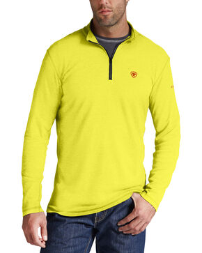 Ariat Men's FR Yellow Polartec HRC2 1/4-Zip Shirt, Yellow, hi-res