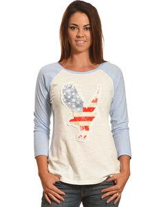 Shyanne Women's American Flag Eagle Baseball Tee, , hi-res