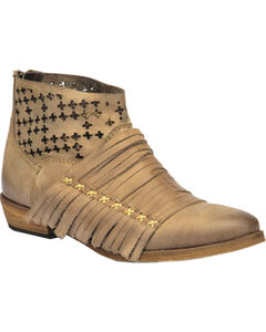 Corral Burnished Strappy Lasercut Short Boots, Brown, hi-res