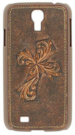 Nocona Distressed Diagonal Cross Galaxy S4 Case, Brown, hi-res
