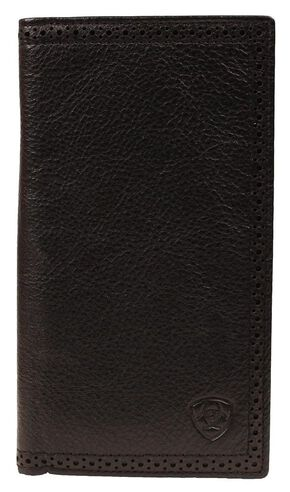 Ariat Peforated Edge Rodeo Wallet, Black, hi-res