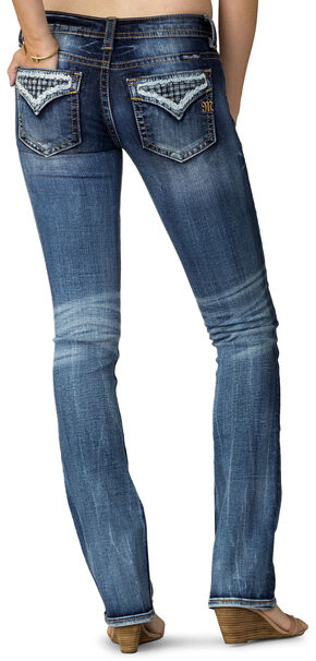Miss Me Women's Indigo Open Flap Slim Fit Jeans - Extended Sizes, Indigo, hi-res