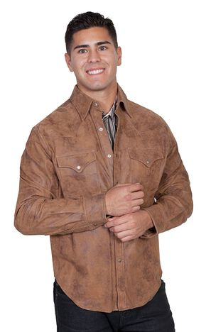 Scully Leather Shirt Jacket, Brown, hi-res