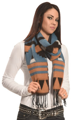 Rapti Fashion Brown, Blue and White Cashmere Southwestern Fringe Scarf , , hi-res