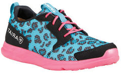 Ariat Youth Girls' Fuse Blue Leopard Mesh Shoes, , hi-res