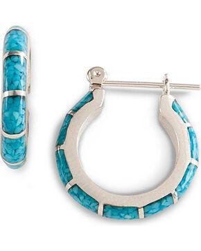 Turquoise Inlay Hoop Earrings, Silver, hi-res