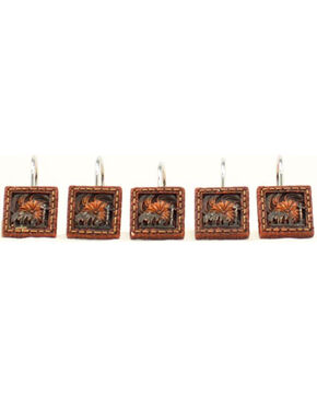 M&F Western Cowboy Prayer Shower Curtain Hooks , Brown, hi-res