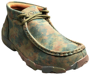 Twisted X Kid's Camo Leather Driving Mocs, Camouflage, hi-res