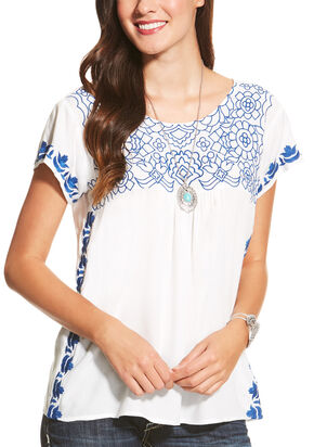 Ariat Women's White Embroidered Acle Top, White, hi-res