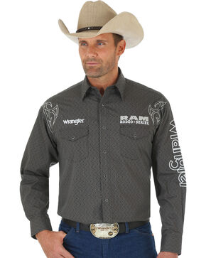 Wrangler Men's Grey and Black Dodge Ram Western Shirt, Black, hi-res