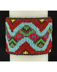 Blazin Roxx Snake Beaded Leather Cuff Bracelet, , hi-res