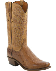 Lucchese Men's Nathan Smooth Ostrich Leather Western Boots - Square Toe, , hi-res