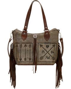 American West Charcoal Brown Cross My Heart Zip Top Convertible Tote, , hi-res