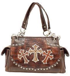 Blazin Roxx Embroidered Crosses Satchel Bag, , hi-res