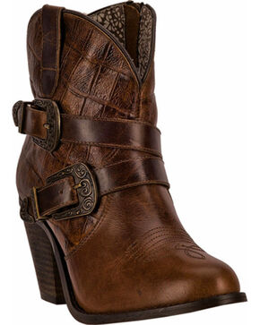 Dingo Ember Short Cowgirl Boots - Round Toe, Cognac, hi-res
