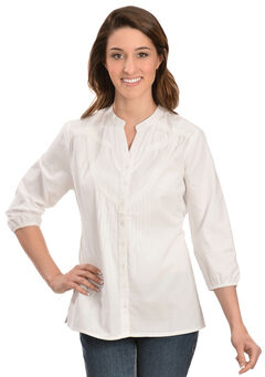Red Ranch White Embroidered Button Down Top, , hi-res