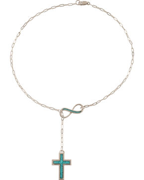Silver Legends Women's Sterling Silver Cross Infinity Necklace , Turquoise, hi-res