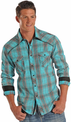 Rock and Roll Cowboy Mineral Washed Plaid Western Shirt , , hi-res