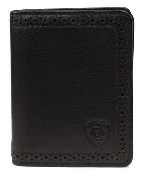 Ariat Perforated Edge Embossed Logo Bi-fold Wallet, Black, hi-res