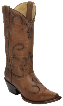 Corral Distressed Cognac Laser-Cut Cowgirl Boots - Snip Toe, , hi-res