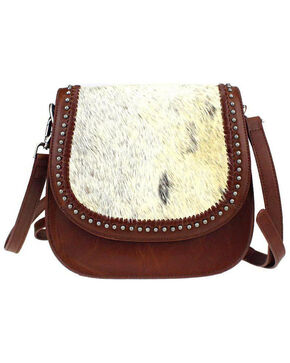 Montana West Delila Saddle Bag 100% Genuine Leather Hair-On Hide Collection in Natural, Natural, hi-res