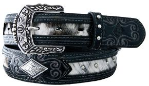 Stetson Fancy Concho Hair-on-Hide Inlay Belt, Black, hi-res