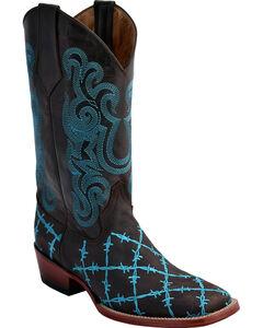 Ferrini Men's Barbed Wire Western Boots - Square Toe , Chocolate, hi-res