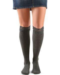 Blazin Roxx Grey Lace Top Knee-High Socks, , hi-res