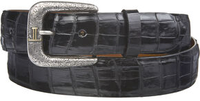 Lucchese Men's Black Caiman Ultra Belly Leather Belt, Black, hi-res
