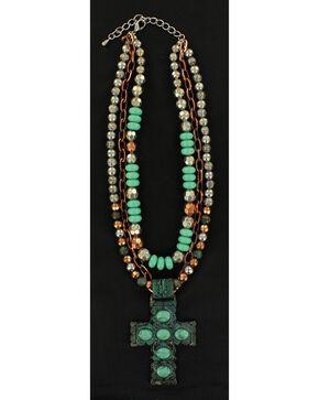 Blazin Roxx Antique Turquoise Cross Multi-Strand Necklace, Turquoise, hi-res